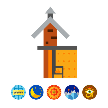 flue: Fireplace scheme icon Illustration