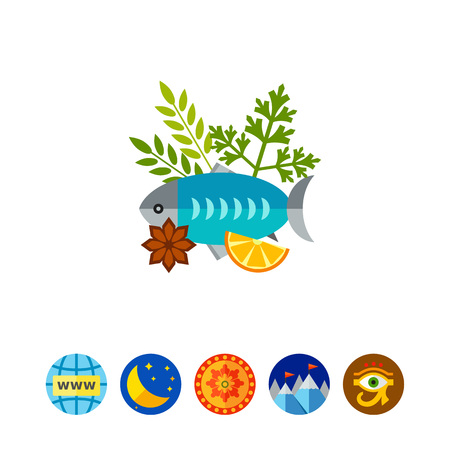 Fish with lemon and herbs vector icon Illustration