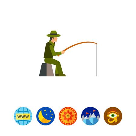 fisher: Fisherman sitting with fishing rod icon Illustration