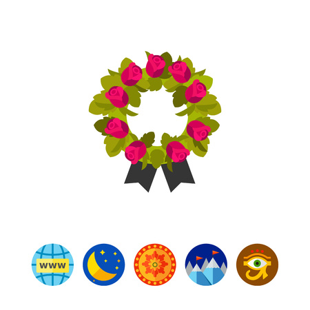 burial: Funeral wreath icon Illustration