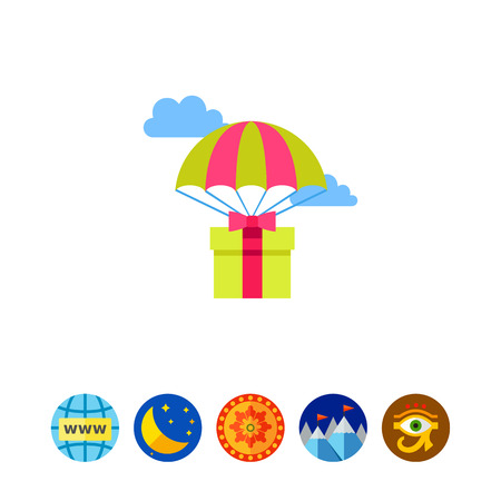 package sending: Gift Delivery by Parachutes Icon Illustration