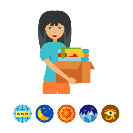 refugee: Girl with clothes donate box icon