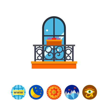 decorative balcony: Forged balcony with flowers icon