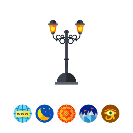 Forged outdoor street lamp vector icon Illustration