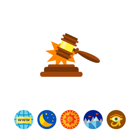 Gavel making sold sound vector icon Illustration