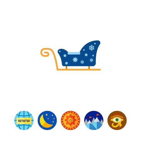 Genuine blue Santa Claus sleigh icon