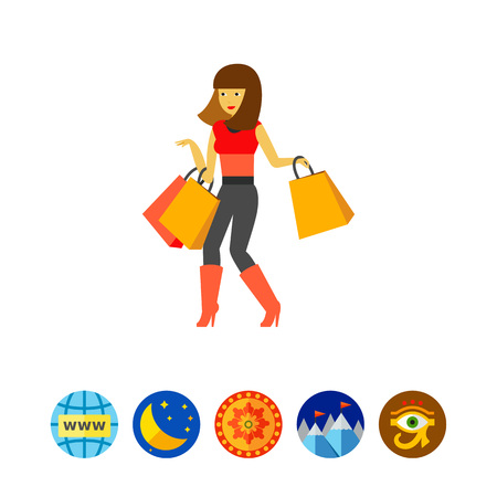 Girl with shopping bags icon Illustration