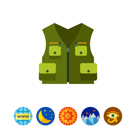 Green hunting vest vector icon