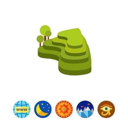 Green rice terraces icon