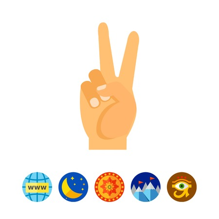 Hand showing peace sign vector icon