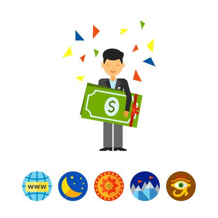 Guy Holding Dollars Icon