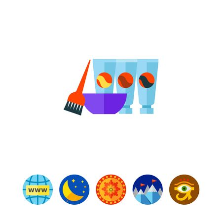 Hair dyes with brush and bowl vector icon 일러스트