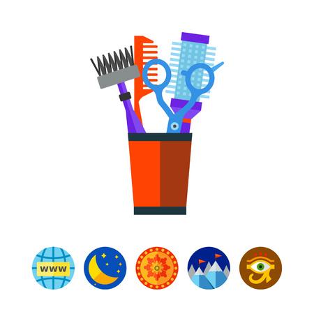 Icona di vettore di pettini e cesoie parrucchiere
