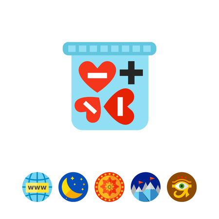Heart-shaped love pills in box icon