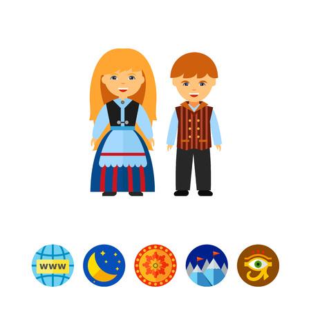 Happy Finns in national dress icon Ilustração