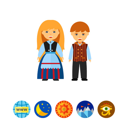 Happy Finns in national dress icon Vettoriali