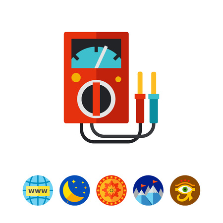 high voltage: Icon of voltmeter. Energy, voltage, diagnostic. Electricity concept. Can be used for topics like engineering, industry, equipment