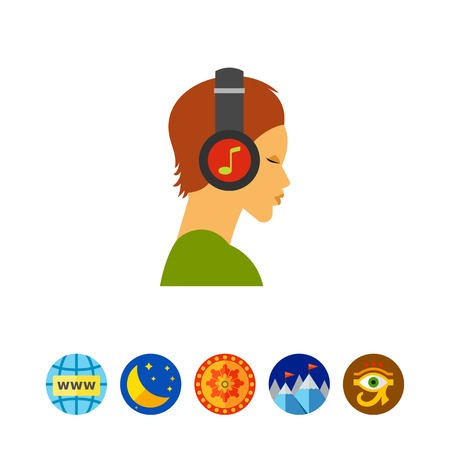 Human head with headphones icon Illustration