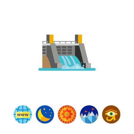 hydroelectric: Hydroelectric station icon Illustration
