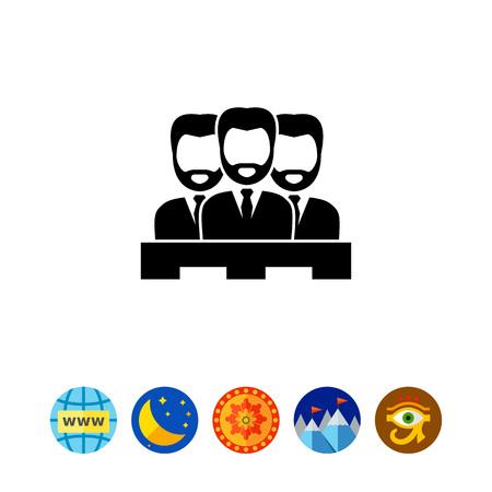 tribunal: Jury of Three Men Icon Illustration