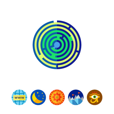 green issue: Labyrinth of consciousness vector icon