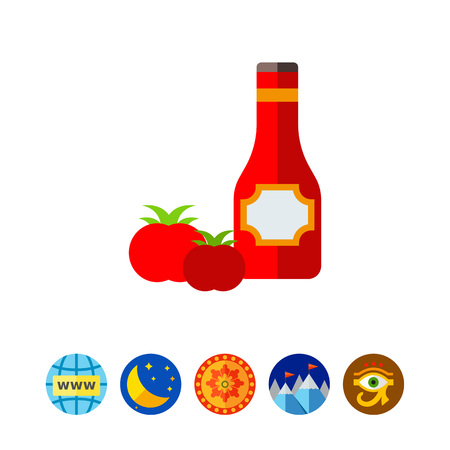 Ketchup in bottle and tomatoes icon
