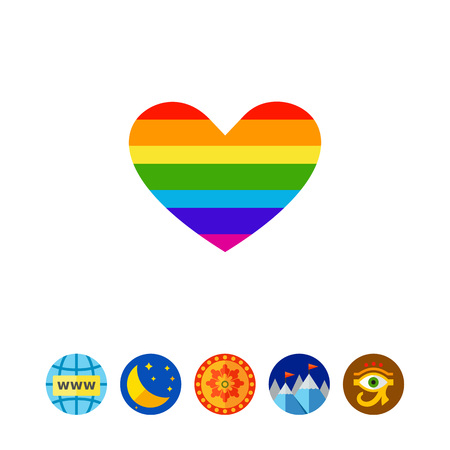 LGBT rainbow heart sign icon