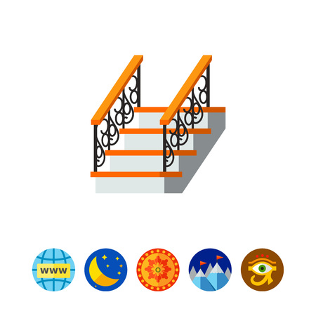 ladder  fence: Ladder with forged fence banister icon