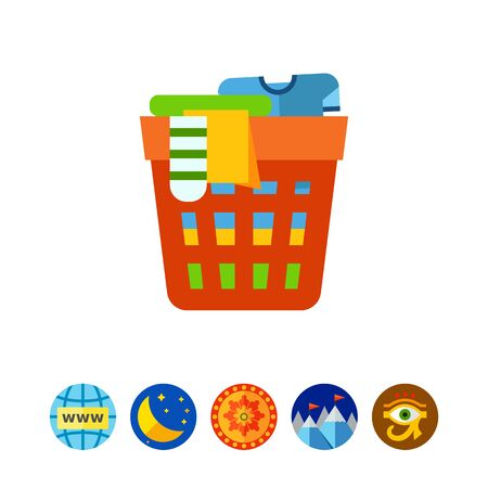 cleanliness: Laundry basket icon Illustration