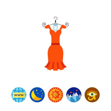 ビーズ ハンガーに小さなオレンジ色ドレス