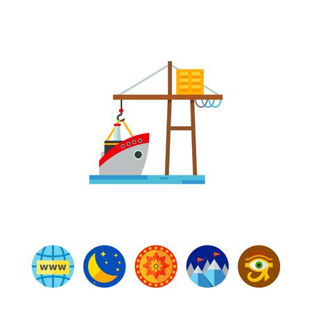 Logistic Ship and Crane Icon