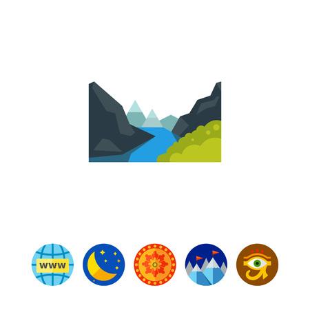 Majestic Geiranger fjord icon Imagens - 80890751