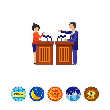 Male and female candidates holding debates