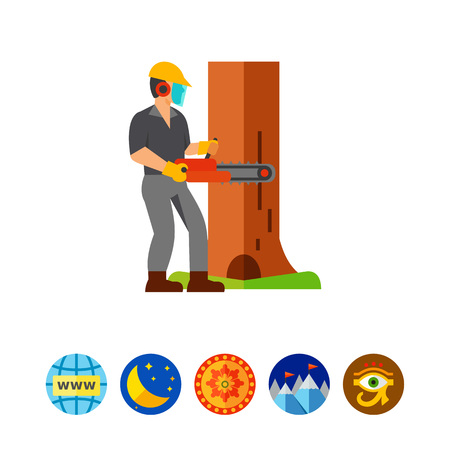 logging: Man cutting tree icon Illustration