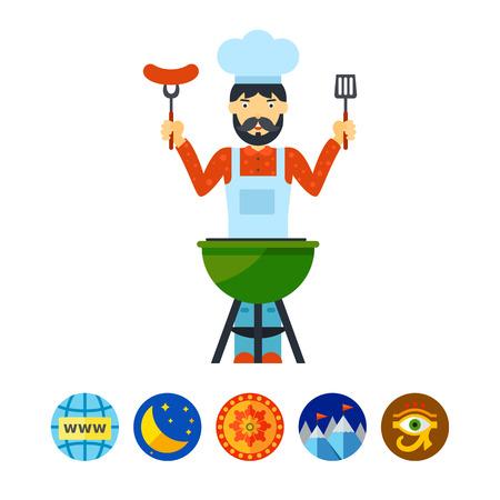 Man grilling icon