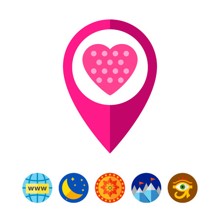 position d amour: Map Pointer with Heart Icon