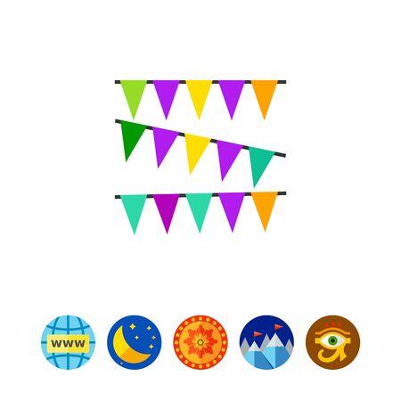 Mardi Gras garland decoration icon