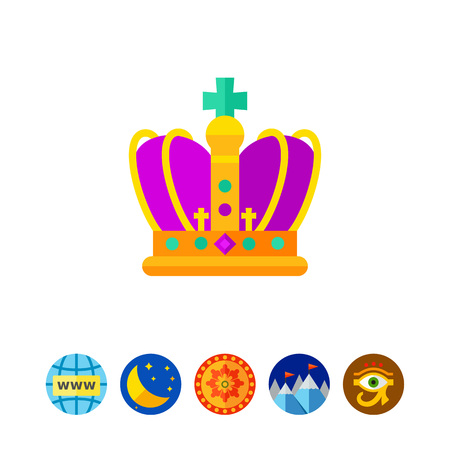 Mardi Gras golden and purple crown icon