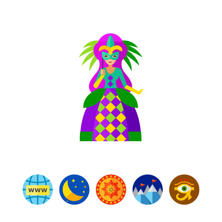 Mardi Gras queen icon Illustration