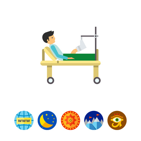 gurney: Man with Broken Leg Icon Illustration