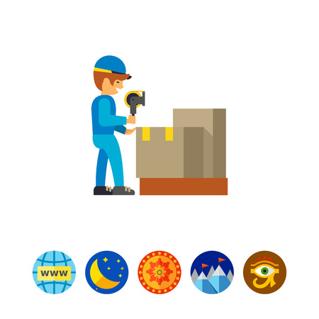 scotch: Man working in packing distribution center Illustration