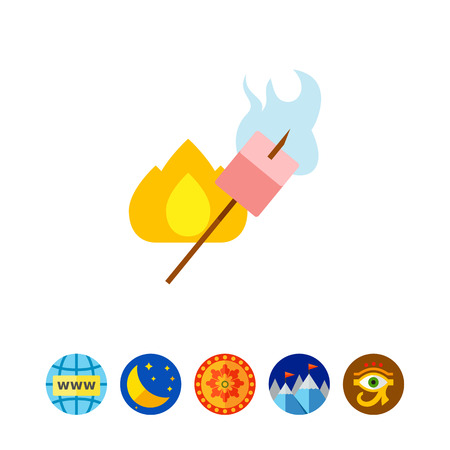 Marshmallow roasting on stick icon