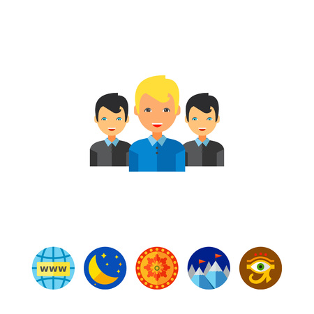 Team Leader and Two Members Icon Illustration
