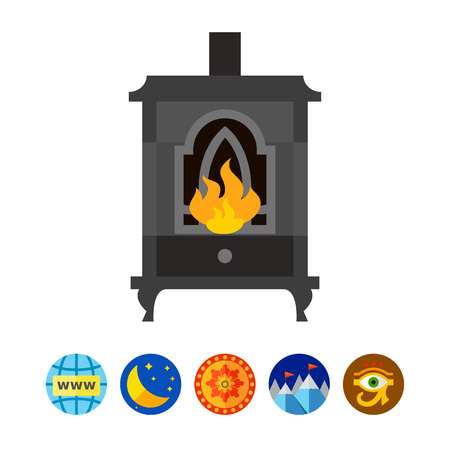Metal fireplace icon Illustration