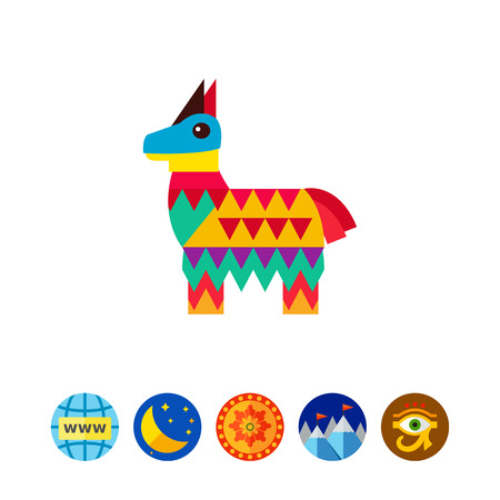 papiermache: Mexican pinata in shape of horse icon Illustration