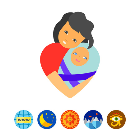 swaddled: Mother Love Concept Icon Illustration