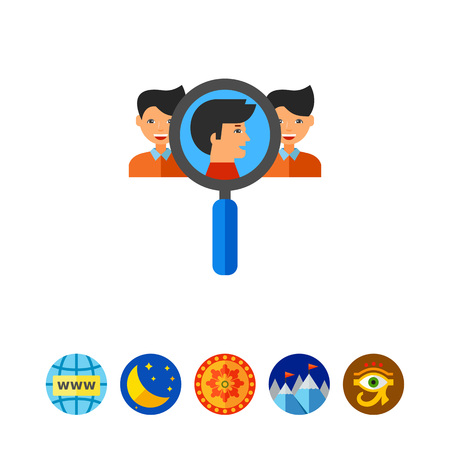 Team Creation Concept Icon with Magnifier Illustration