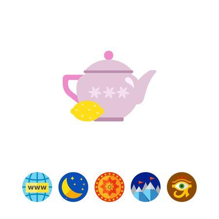 Teapot with lemon icon Ilustração