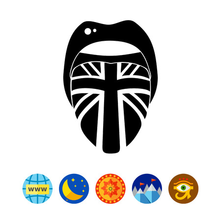 Tongue with English Flag Icon