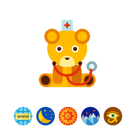 Toy bear doctor icon Illustration